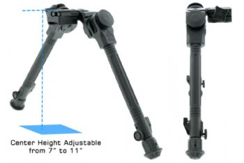 "Leapers UTG Over Bore Bipod 7""-11"" Center Height Picatinny Pan & Tilt TL-BPOB01"